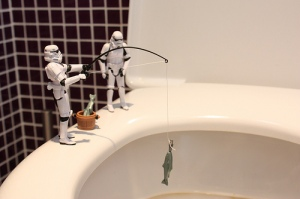 Fishing in the toilet