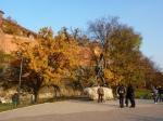 Il drago sputafuoco ai piedi del Wawel Castel